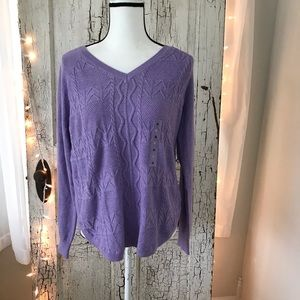NWT Sonoma Patchwork Cable Pullover Purple Sweater